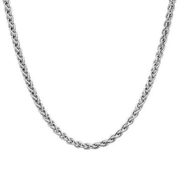 AUGUAU 2mm solid sterling silver 925 Italian SPIGA wheat chain necklace chocker bracelet anklet with lobster claw clasp jewelry - 15, 20, 25, 30, 35, 40, 45, 50, 55, 60, 65, 70, 75, 80, 85, 90, 95, 100cm