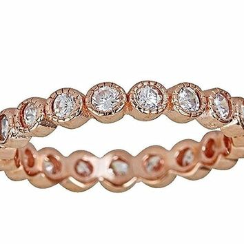 14k Rose Gold on Silver Antique Style Bezel Set Eternity Stackable Ring Band S-6