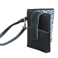 Black Leather Smartphone Wristlets Wallet for Women - Leopard Lining