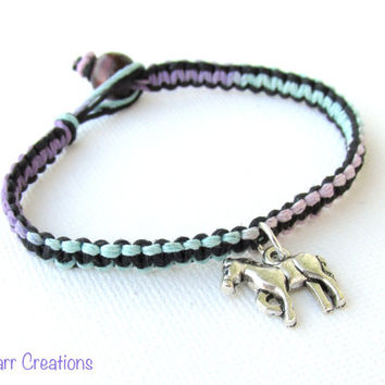Horse Bracelet, Pastel and Black Handmade Hemp Jewelry for Equestrians