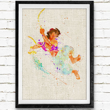 Aladdin and The Magic Lamp Watercolor Print, Disney Baby Boys Nursery Decor, Wall Art, Home Decor, Gift Idea, Not Framed, Buy 2 Get 1 Free!
