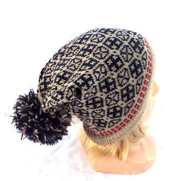 knitted wool beanie, knit colorful gray black beanie, women men teen multicolor hat, knitting cap, knit tam, clocche , latvian ornament tam