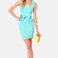 Pass the Pep-er Light Blue Peplum Dress