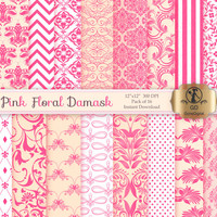 Damask Digital Paper Pack : 'Pink Floral Damask' - for scrapbooking, crafting, baby shower invitations, cardmaking - Pink Peach Cream