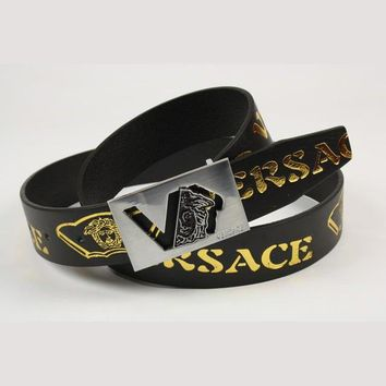 VERSACE Men Fashion Smooth Buckle Belt Leather Belt-1