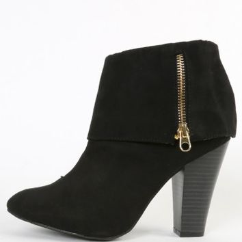 Qupid Madge-07 Fold Over Zip Ankle Boots | MakeMeChic.com