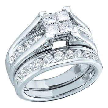 Ladies 10KT Bridal Ring Set Princess & Round Cut Diamond 0.90CTW White Gold