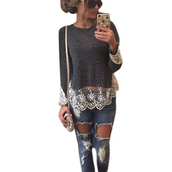 Gray Lace Patchwork Long-Sleeve Shirt