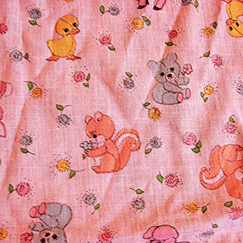 1970s Kids Juvenile Novelty Cotton Fabric Baby Animals Print Fabric