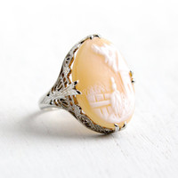Antique 18k White Gold Scenic Cameo Filigree Ring- Size 5 1/4 Vintage 1920s Art Deco Large Intricate Carved Shell with Fairy Tale Scene