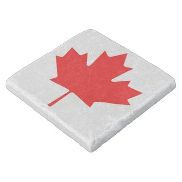 Canadian Flag of Canada Red Maple Leaf Stone Coast Stone Coaster