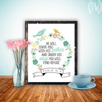 Bible Verse wall art print printable Scripture Christian wall decor poster, inspirational quote birds typography Psalm 91:4 INSTANT DOWNLOAD