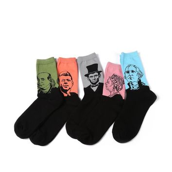Men's Famous Historical Figure Socks: Benjamin Franklin, JFK, George Washington, Abe Lincoln and the Queen