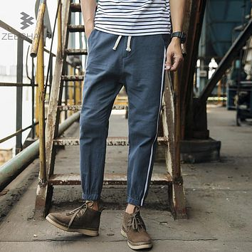 Zeeshant Men's Casual Pants Natural Cotton Linen Trousers Elastic Waist Straight Man's Pants in Men's Casual Pants Plus XXXXXL
