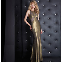 Sexy Gold & Black Sexy Sheer Cutouts Low Lace Up Back Dress