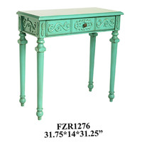Crestview Turquoise 1 Drawer Console Table - CVFZR1276