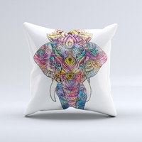 The Bright Watercolor Ethnic Elephant ink-Fuzed Decorative Throw Pillow
