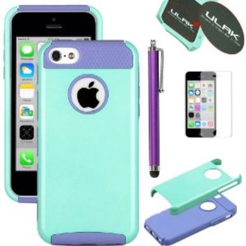 Pandamimi UlAK(TM) Hybrid Rubber Rugged Combo Matte TPU + PC 2-Piece Style Soft Hard Case Cover for iPhone 5C with Screen Protector and Stylus (Mint Green+Blue)