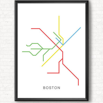 Boston City Transit Map Poster - A Graphic Design Illustration Print of City Subway Metro Line Art, Public Transit - Color Line Art Design