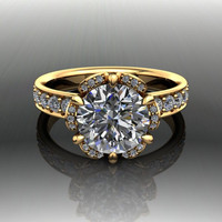 Forever Brilliant Moissanite and Diamond Engagement Ring 2.87 CTW