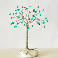 Wire Tree,Emerald Glass Teardrops,wire sculpture,Wire Tree of life,Beaded tree,Crystal tree,lucky Tree