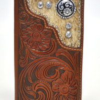 Nocona Men's Hair on Hide Clear Stone Leather Tooled Tan Rodeo Wallet