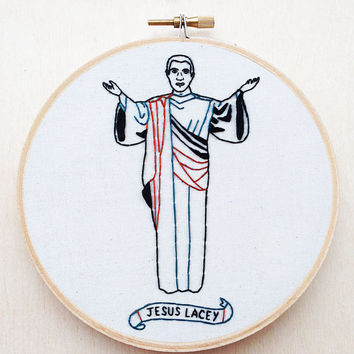 Brand New Jesus Lacey Embroidery Hoop Jesse Lacey Deja Entendu Funny Embroidery Pop Punk Music Home Decor Brand New Band Funny Wall Art