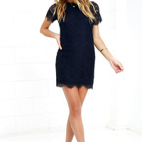 Take Me to Brunch Navy Blue Lace Shift Dress