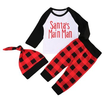 3Pcs Baby Christmas Clothing Sets Newborn Baby Boy Girl Long Sleeve Tops Romper Plaid Pants Hat Fashion Outfits Set Clothes