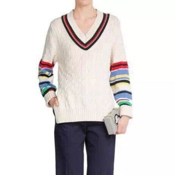 Ribbed V-Neck Rainbow Stripes Sleeve Loose Knit Top
