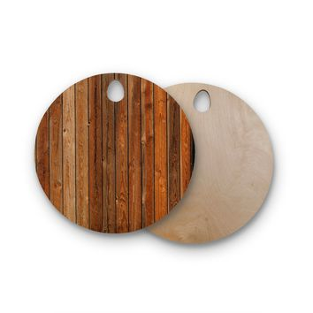 "Susan Sanders ""Rustic Wood Wall"" Nature Brown Round Wooden Cutting Board"