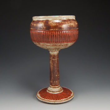 ceramic goblet, wheel thrown, red, cream, brown, hand carved