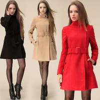 New Women long Parka Wool Trench Winter Outerwear Winter Zipper Overcoat with Belts  SV007694