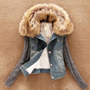 Woman Winter Coat With Fur Collar Cotton Long Sleeve Denim Jacket