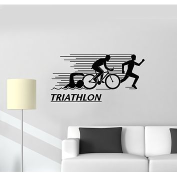Vinyl Wall Decal Athlete Letter Triathlon Sports Swimming Cycling Running Stickers Mural (g1594)