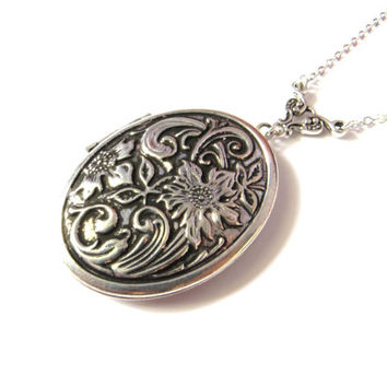Silver Oval Locket With Embossed Flower Design - Vintage Style Locket, Engraved Locket, Long Chain, Large Locket