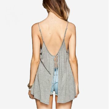 Back Lace-up Split Strap Top