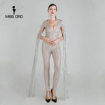 DCCKL3Z Missord 2017 Sexy Deep-V cut out long sleeve glitter sequin jumpsuit  FT4682