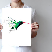 "Hummingbird art print  5""x5"", 6""x4"", 8""x10"" or 11""x14"" - Geometric - Bird art - green, blue - Modern wall decor"