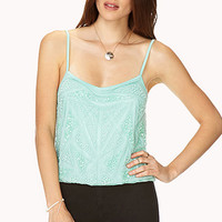 FOREVER 21 Dancing Diva Beaded Cami Mint/Mint