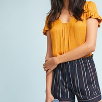 Paperbag-Waisted Stripe Shorts