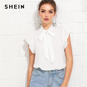 SHEIN White Elegant Workwear Flounce Shoulder Tied Neck Stand Collar Ruffle Blouse Summer Women Weekend Casual Shirt Top