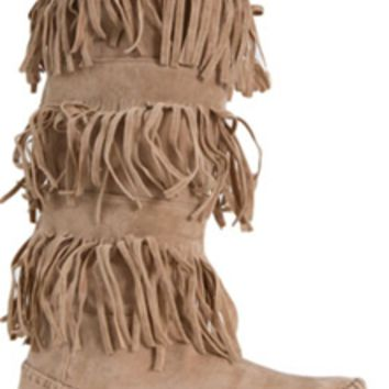 Charles Albert Fringed Moccasin Boots in Taupe FRINGEE-TAUPE