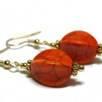 Orange Howlite Gemstone Earrings EGP160 | Forbesfarm - Jewelry on ArtFire