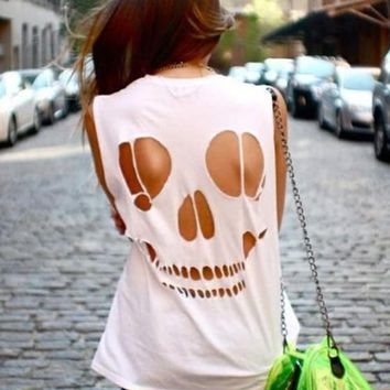 White Skull Cut Out Round Neck Short Sleeve T-Shirt