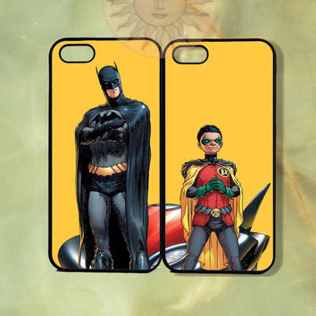Batman and Robin Couple Cases -iPhone 5, 4s, iphone 4 case, ipod 5, Samsung GS3-Silicone Rubber or Hard Plastic Case, Phone cover