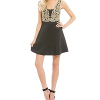 Honey and Rosie Metallic Embroidered Fit-And-Flare Dress | Dillards