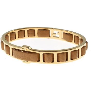 Fendi FF Fendista Logo Brown Leather Woven Bangle Bracelet