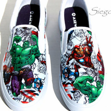 Avenger's Assemble  Men's Shoes-  Iron Man-Captain America-Thor- Hulk- Wedding shoes- Gift for him- comic book - Marvel