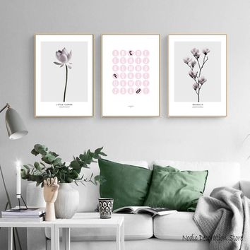 Nordic Magnolia Pink Lotus Flowers Posters And Prints Wall Art Pink English Letter Canvas Painting Wall Picture Room Unframed